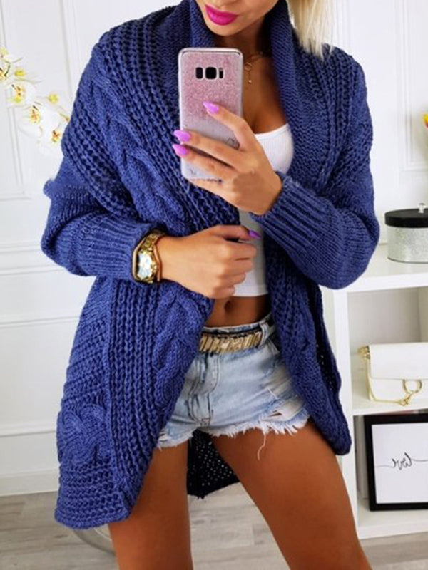 Solid Color Sweater Coats