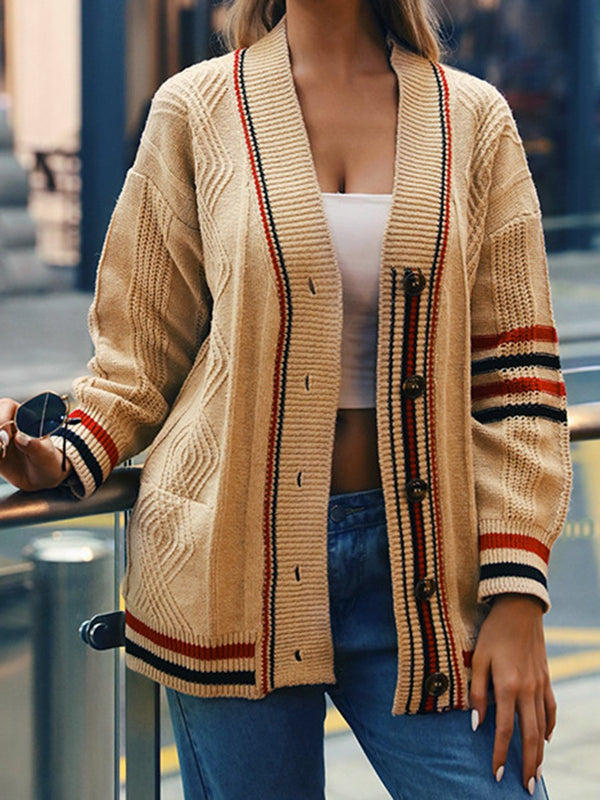 V-neck Striped Sweater Coats