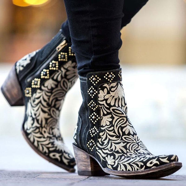 Plus Size Style Embroidery Zipper Chunky Heels Boots