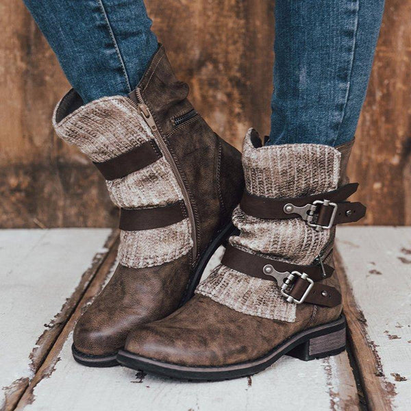 Women Sweater Ankle Boots PU Zipper Buckle Casual Shoes