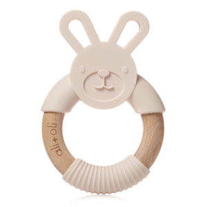 Ali+Oli Bunny Teether Toy for Baby Soft Grey / Pink