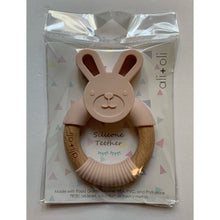 Load image into Gallery viewer, Ali+Oli Bunny Teether Toy for Baby Soft Grey / Pink