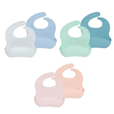 Wean Meister Silicone Easy Rinse Bibs Plain - 2 Pack