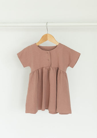 Mauve Simple Snap Dress