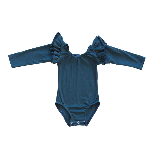Royal Blue Non-Ribbed Long Sleeve Leo