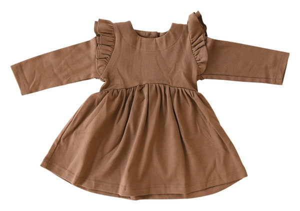 Nutmeg Long Sleeve Ruffle Dress