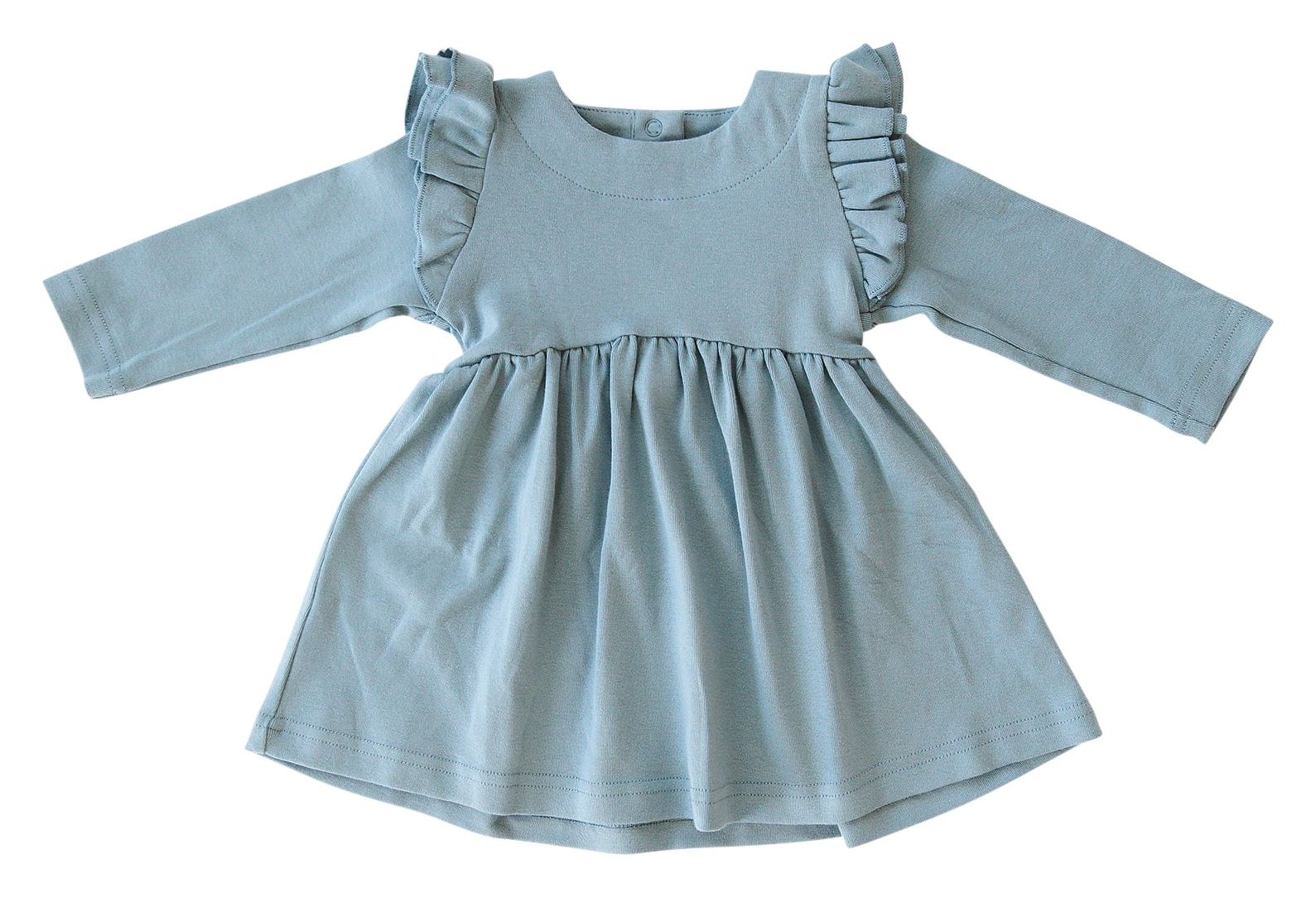 Sky Long Sleeve Ruffle Dress