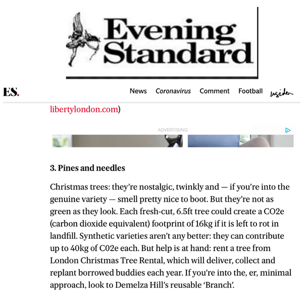 The Evening Standard - London Christmas Tree Rental Press Coverage