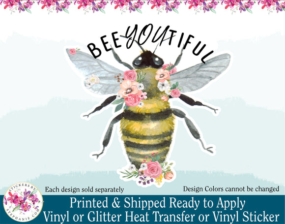 (s126-W) Bee You Tiful Floral Watercolor Bee
