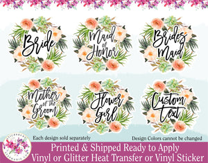 (s13-A) Bride Bridesmaid Flower Girl Succulent Garden Wreath Floral Flowers Watercolor Print Vinyl Decal - StickersbyStephanie