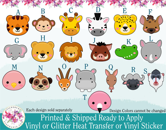 (s132) Cute Safari Jungle Animal Faces Monkey Giraffe Zebra Lion Cheetah