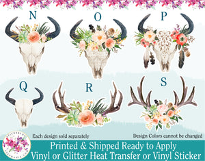 (s13) Succulent Garden Cow Skull Deer Antlers Floral Flowers Watercolor