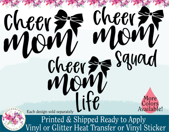 (s140-H) Cheer Mom Life Squad Bow