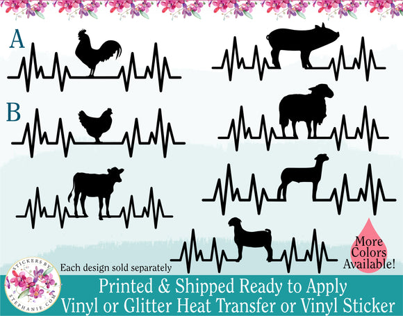 (s182) Farm Animals Chicken Hen Pig Sheep Lamb Cow Goat Horse Rabbit EKG Heartbeat