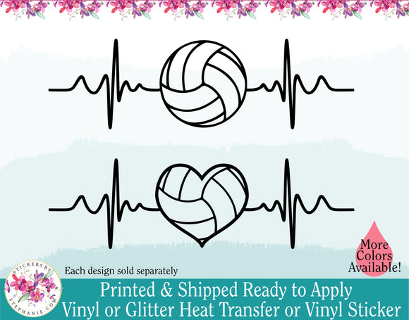(s182) Volleyball Round Heart Ball EKG Heartbeat
