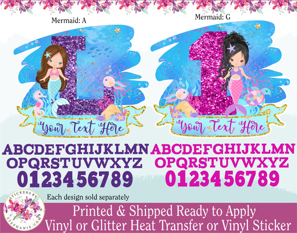 (s198-N) Mermaid Age Number Letter with Name Custom Text