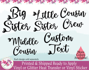 (s198-W) Big Sister Middle Baby Little Sister Cousin Crew Mermaid Custom Text