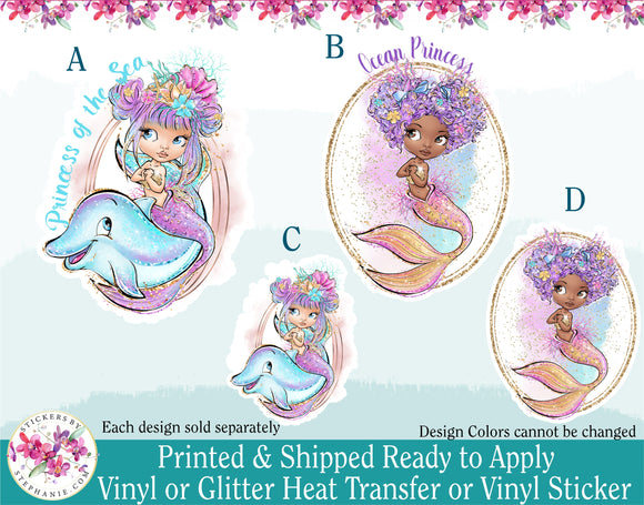 (s198) Princess of the Sea Ocean Princess Mermaid Dolphin