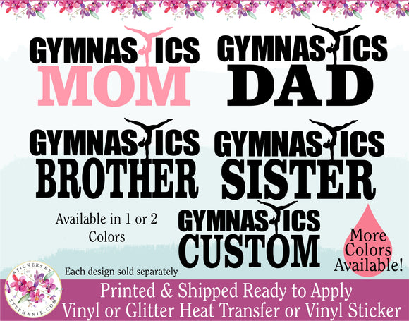 (s19) Gymnastics Mom Dad Brother Sister Family Gymnast Custom Text