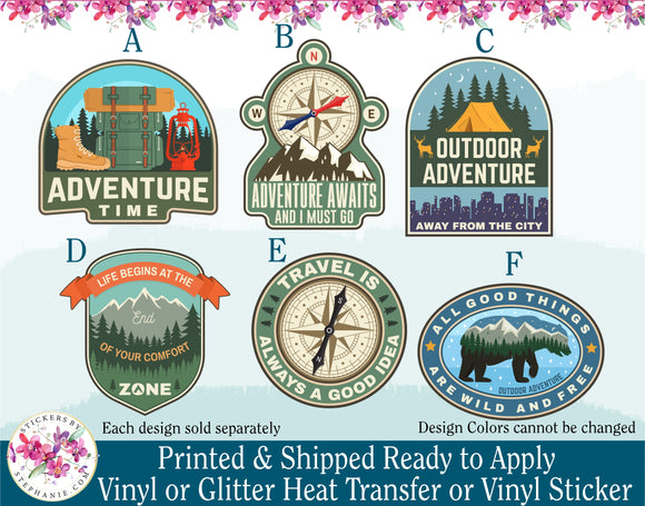 (s228) Adventure Awaits and I Must Go All Good Things are Wild and Free Travel is Always a Good Idea - StickersbyStephanie