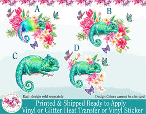(s277) Watercolor Chameleon Flowers Floral