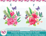 (s277) Watercolor Tropical Flowers Butterflies