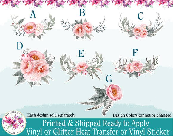 (s286) Harmony Blush Pink Roses Watercolor Flowers