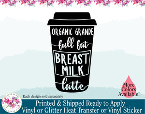 (s308) Organic Grande Full Fat Breast Milk Latte