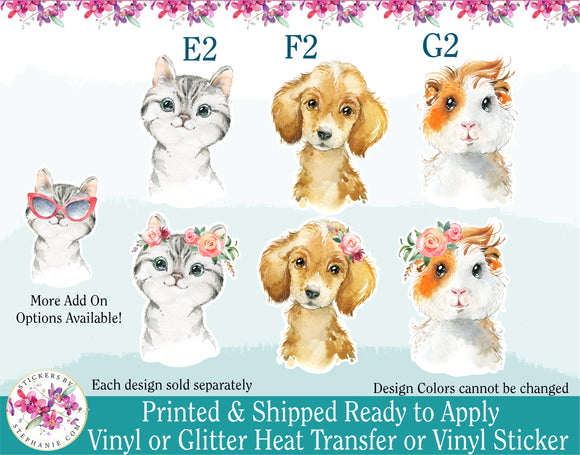 (s313) Floral Watercolor Baby Animals Kitty Cat Puppy Dog Guinea Pig