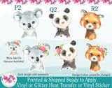 (s313) Floral Watercolor Baby Animals Koala Bear Panda Red Panda