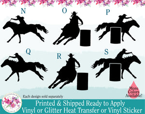 (s36) Barrel Racer Racing Cowboy Cowgirl Rodeo Silhouette
