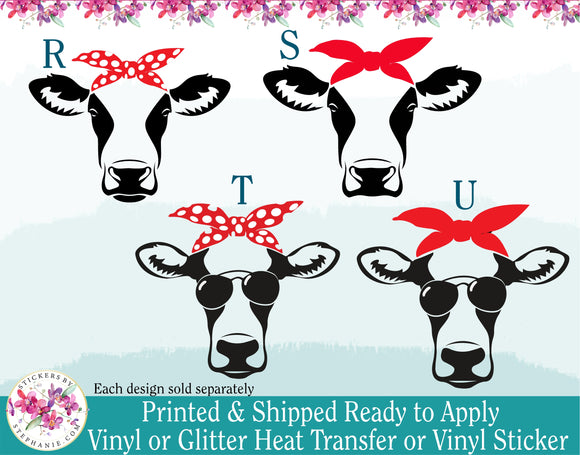 (s3) Cow Heifer Face with Bandana Sunglasses