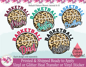 (s47-J) Patterned Basketball with Family Text Mom Dad Brother Sister Custom Text