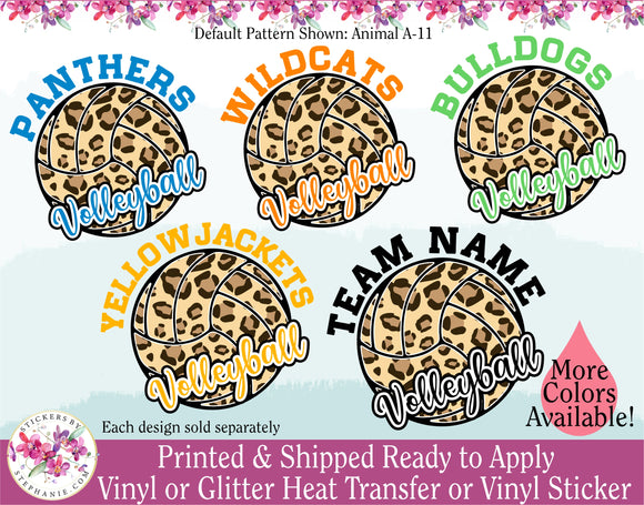 (s54-H4) Leopard Animal Print Volleyball Waterpolo Team Wildcats Panthers Eagles Bears Bulldogs & More!