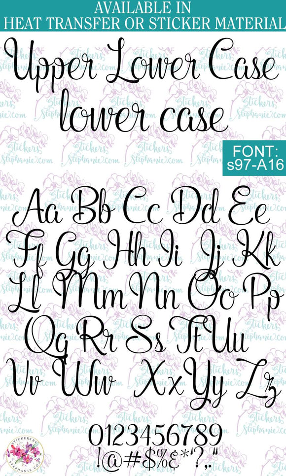 Custom Lettering Name Text Font: s97-A16 - StickersbyStephanie