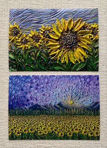 Sunflowers In Purple | Set Of 2 Prints