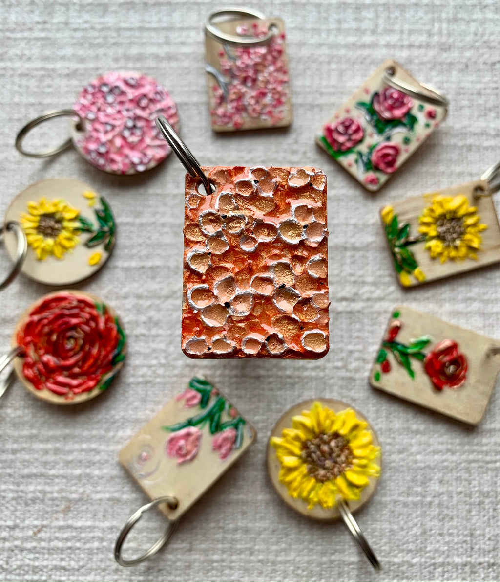 Abstract Peach Blossom | Keychain
