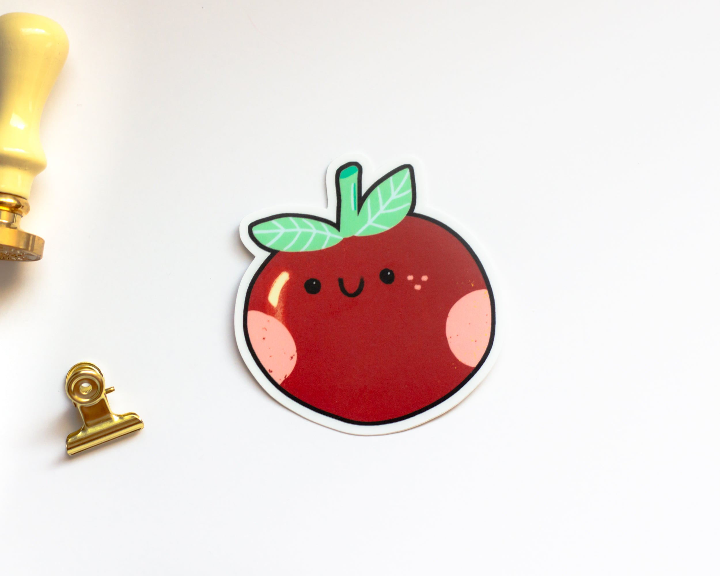 Red Apple Transparent Sticker - Cottagecore Aesthetic Sticker - Waterproof Sticker