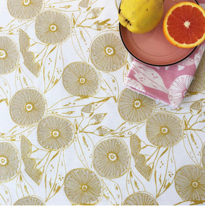 Gum Flower Table Cloth - Cream and Gold
