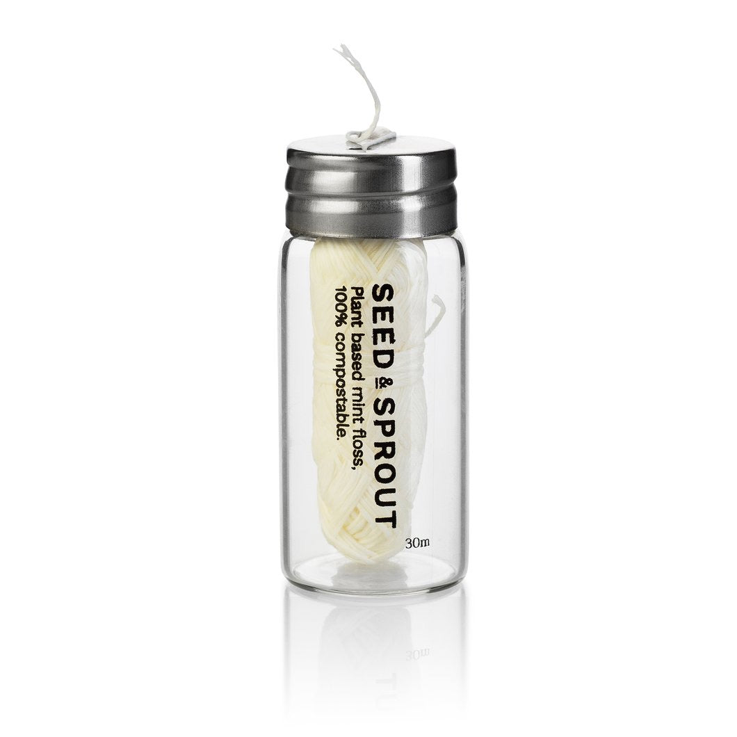 Tooth Floss in Glass Jar - Seed and Sprout