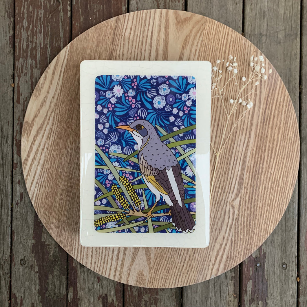 Miner Bird and Mulga Woodblock Artwork - Medi size