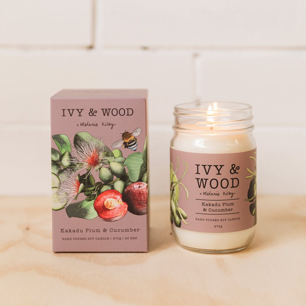 Australiana Collection soy candle- Kakadu Plum and Cucumber - Ivy & Wood