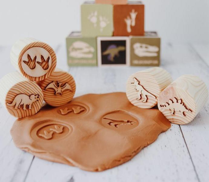 Playdough Stamps - Dinosaur - Set of 5 stamps