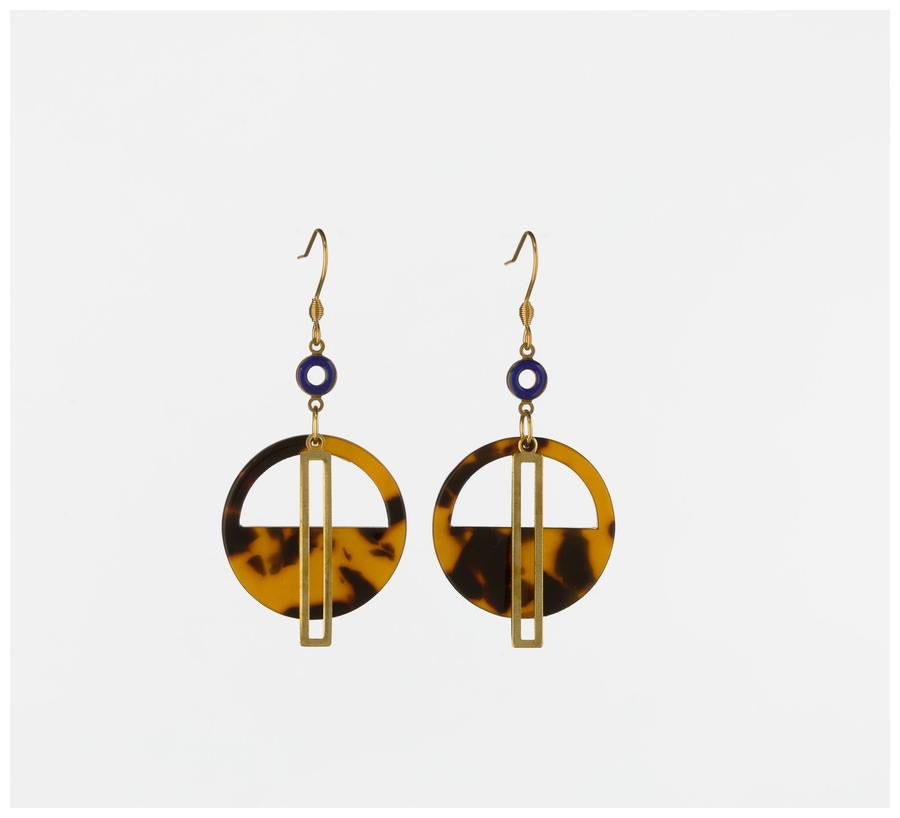 Yacht Earring - Blue and Tortoise ~ Middle Child