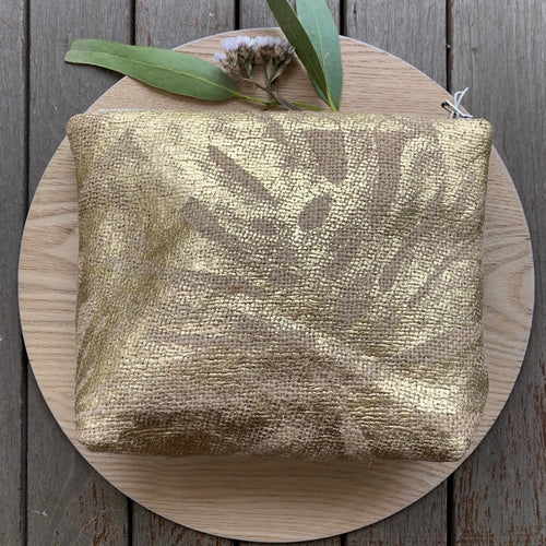 Gold Repurposed Hessian Bag - Large