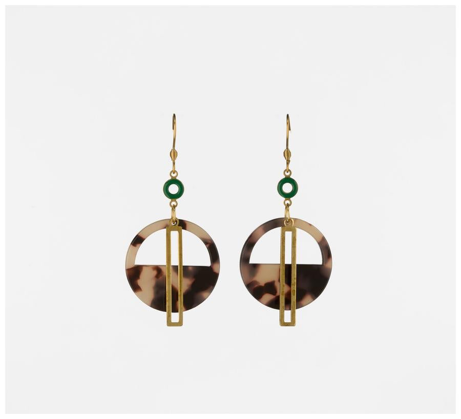 Yacht Earring - Green and Natural ~ Middle Child