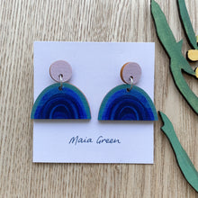 Load image into Gallery viewer, Rainbows at Night - Wooden artwork earrings - Maia Green