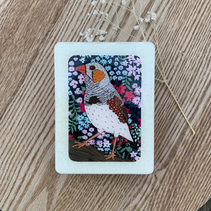 Zebra Finch Woodblock Artwork - Mini size