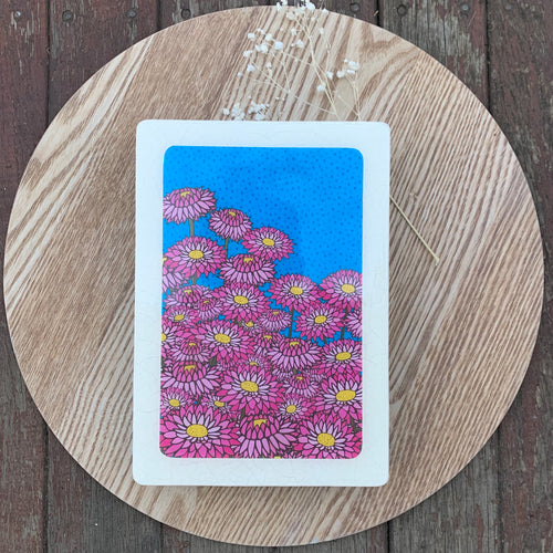 Pink Everlasting Woodblock Artwork - Medi size
