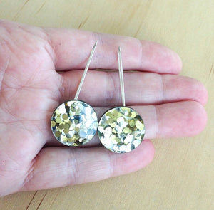 Round Glitter Drop Earrings - Gold - Each to Own